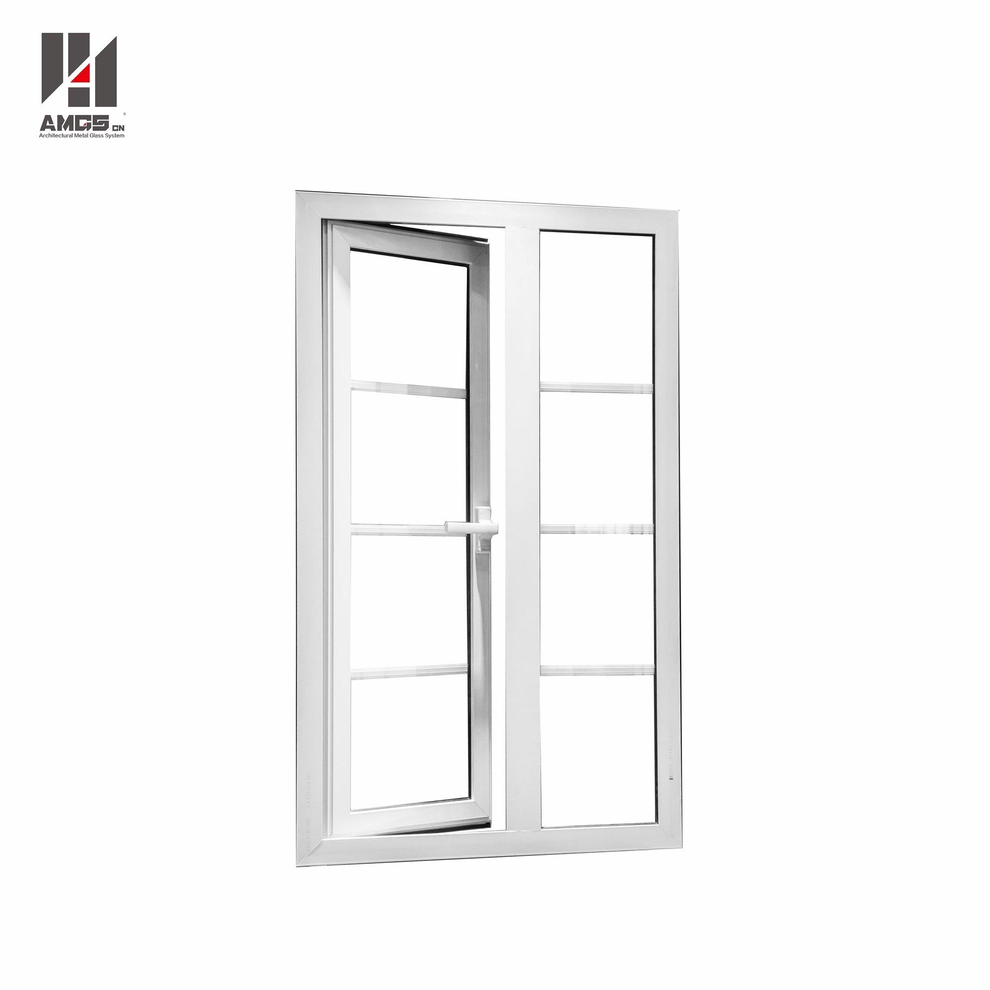 White Aluminum Casement Doors Windows With Grill Design